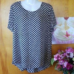 Pleione Pink & Black Blouse, XL